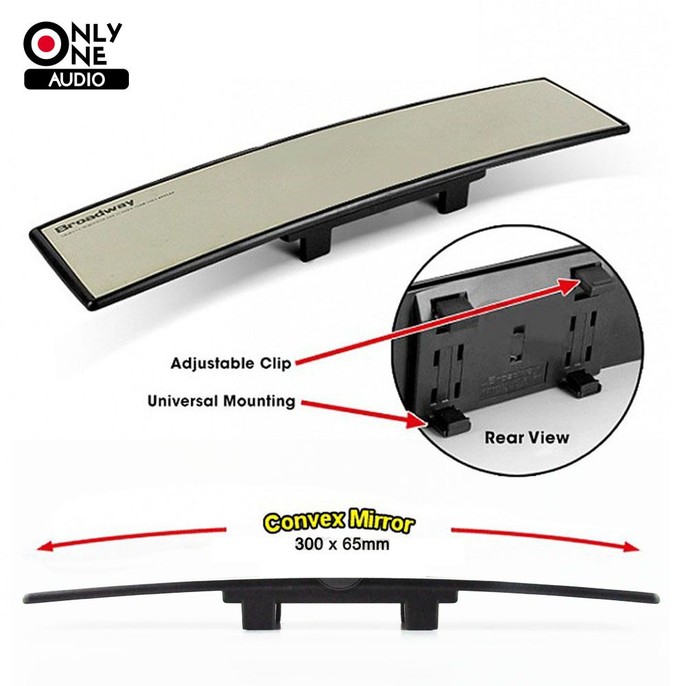 ONLY ONE AUDIO Untra Thin Universal 300mm Wide Convex Auto Interior Mirrors Clip On Car Vehicle Truck Inside Rear View Mirror