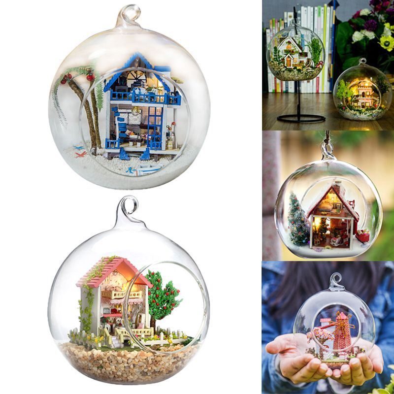 Doll <font><b>Houses</b></font> Glass Ball Miniature DIY Dollhouse Casa Model With Funitures Mini Building Kits Christmas Gift Toys For Children #E