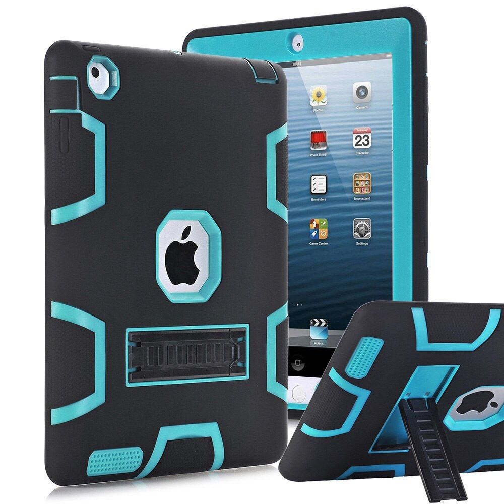 For Apple iPad 2 iPad 3 iPad 4 Case Cover <font><b>High</b></font> Impact Resistant Hybrid Three Layer Heavy Duty Armor Defender Full Body Protector