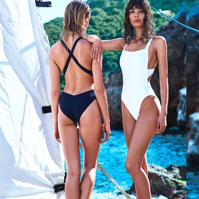 Sexy Trikini Swim Suits New Trikinis For Women 2016 Swimwear <font><b>Cross</b></font> Wrap Black White Bodysuits High Cut One Piece Swimsuits