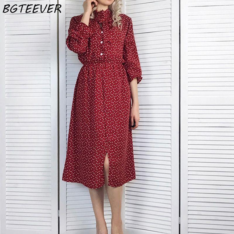BGTEEVER Elegant Stand Collar Polka Dot Chiffon Women Dress Flare Sleeve Side Split Female Dress 2019 Spring Women Midi Vestidos