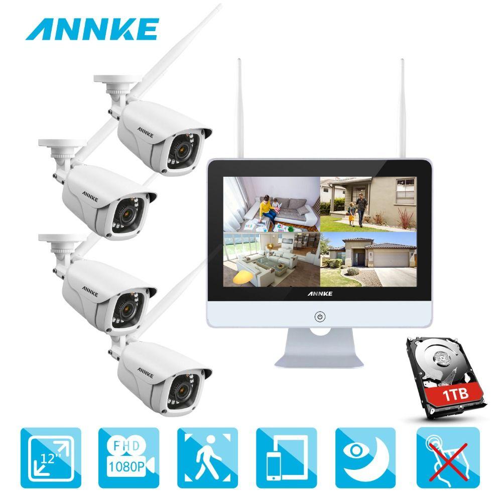 ANNKE 4CH 1080 p HD WiFi Drahtlose NVR Video Überwachung System 12 zoll LCD Bildschirm Automatische Screen Saver 1080 p kugel IP Kameras
