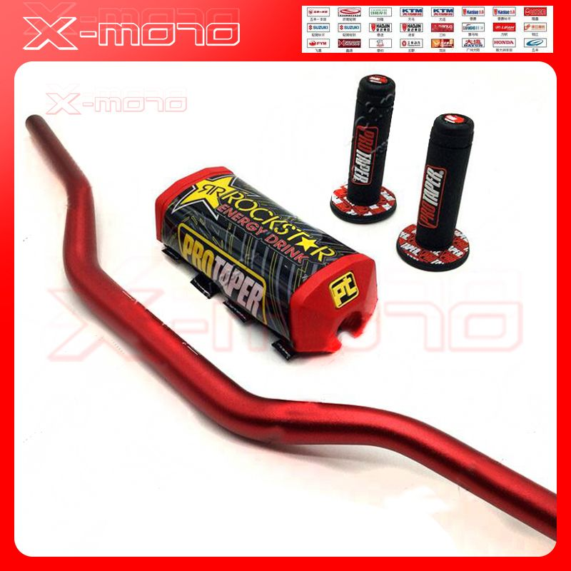 RED 1 1/8 MOTORCYCLE HANDLEBARS 28MM PROTAPER FAT BARS GRIPS BAR PAD DIRT BIKE PIT BIKE MOTOCROSS