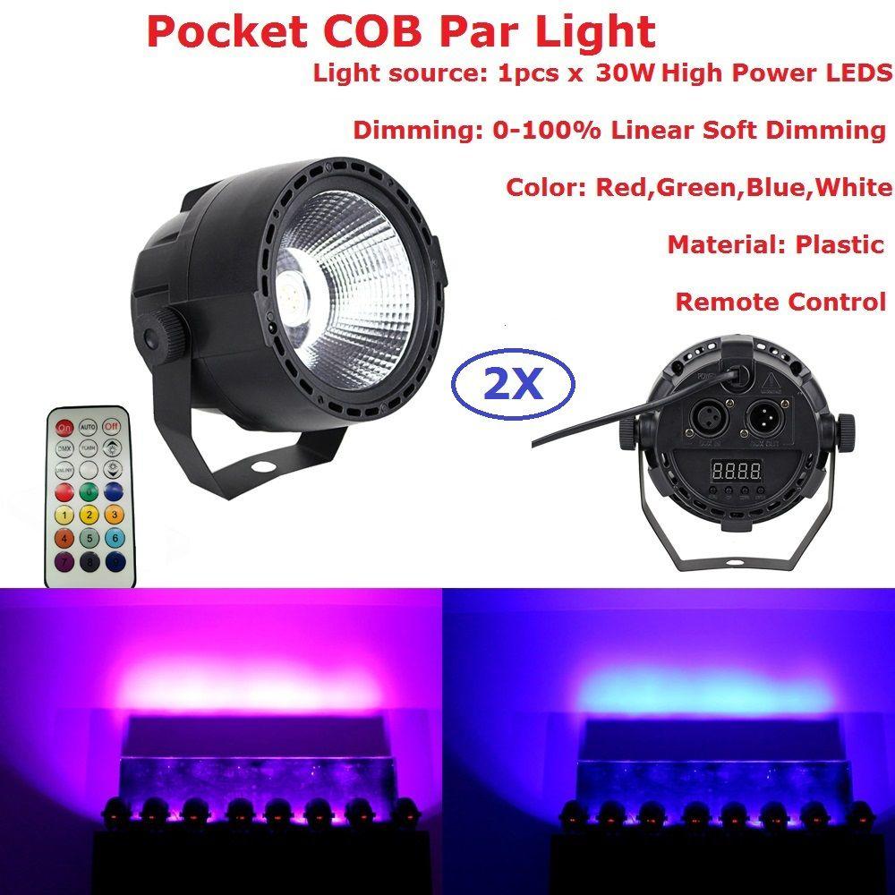 2XLot Carton Package 30W Stage Lights COB RGBW 4IN1 LED Par Lights DMX Control Disco Bar US EU Plug Strobe Effect Stage Lighting
