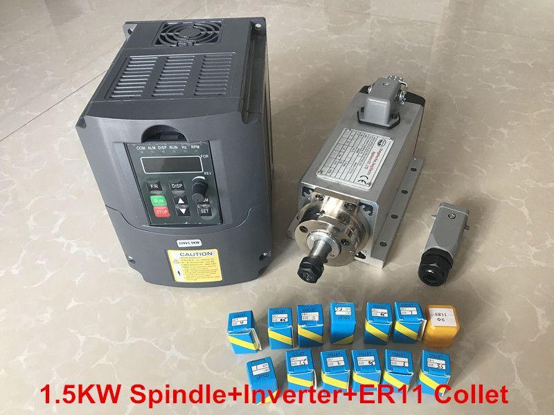 RU delivery 1.5KW Air Cooled Spindle Motor CNC Machine Tool Spindle + 220V Inverter VDF + 1set Er11 Collet Milling Machine
