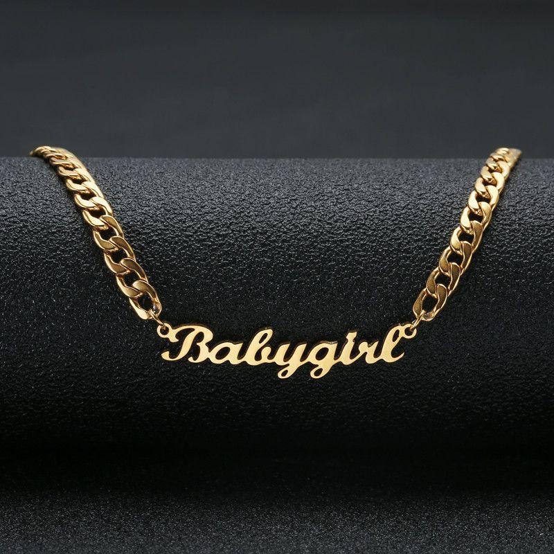 Personnalisé nom collier en acier inoxydable déclaration pendentif et collier personnalisé bébé fille nom bijoux pour femmes cadeau