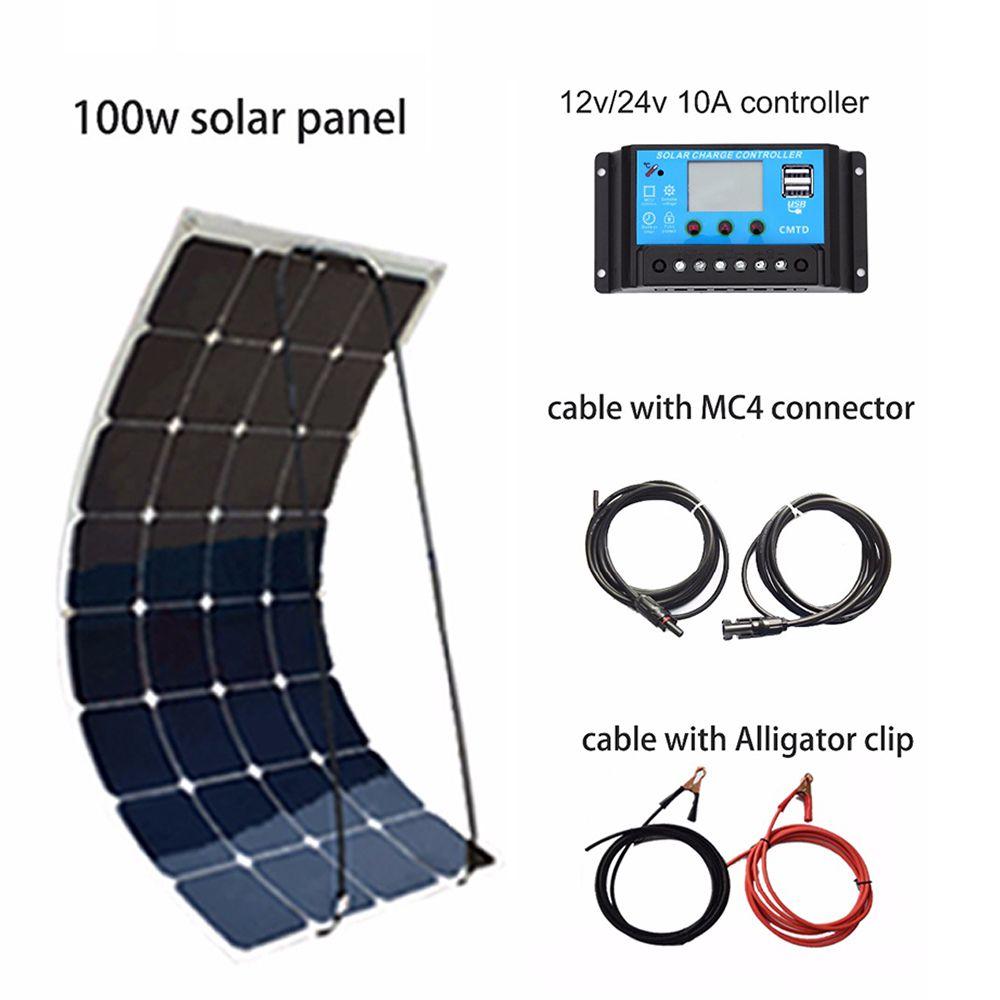 XINPUGUANG 100 W bricolage Kit de système solaire 100 W PV panneau solaire flexible 12 v batterie 10A contrôleur MC4 connecteur RV/bateau Yard power