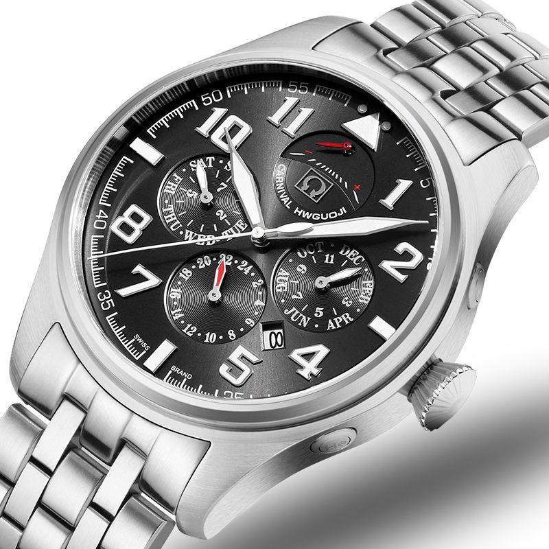 Carnival Brand Luxury Men Watches Japan MIYOTA Automatic Mechanical Man Watch He Gas 150M Waterproof Multifunction Clock C8675-4