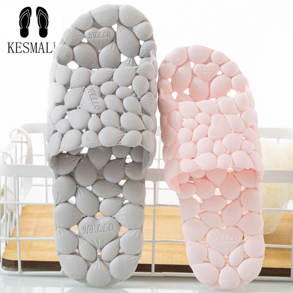 KESMALL Women Summer PVC Home Slippers Lovers Hollowed Out Love Soft Bottom Flip Flops Indoor Men's Korean Bathroom Slippers