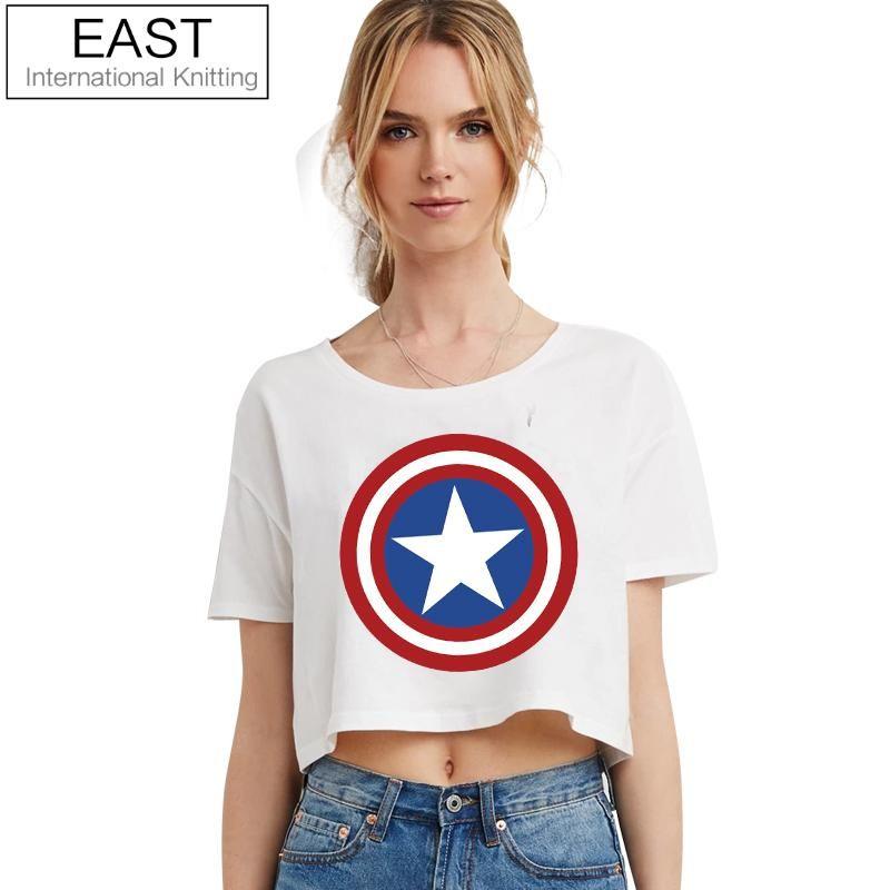 Est tricot H590 2017 nouveau été Punk femmes T Shirt femmes capitaine amérique Logo noir T-shirt Punk T-shirt grande taille pas cher vêtements