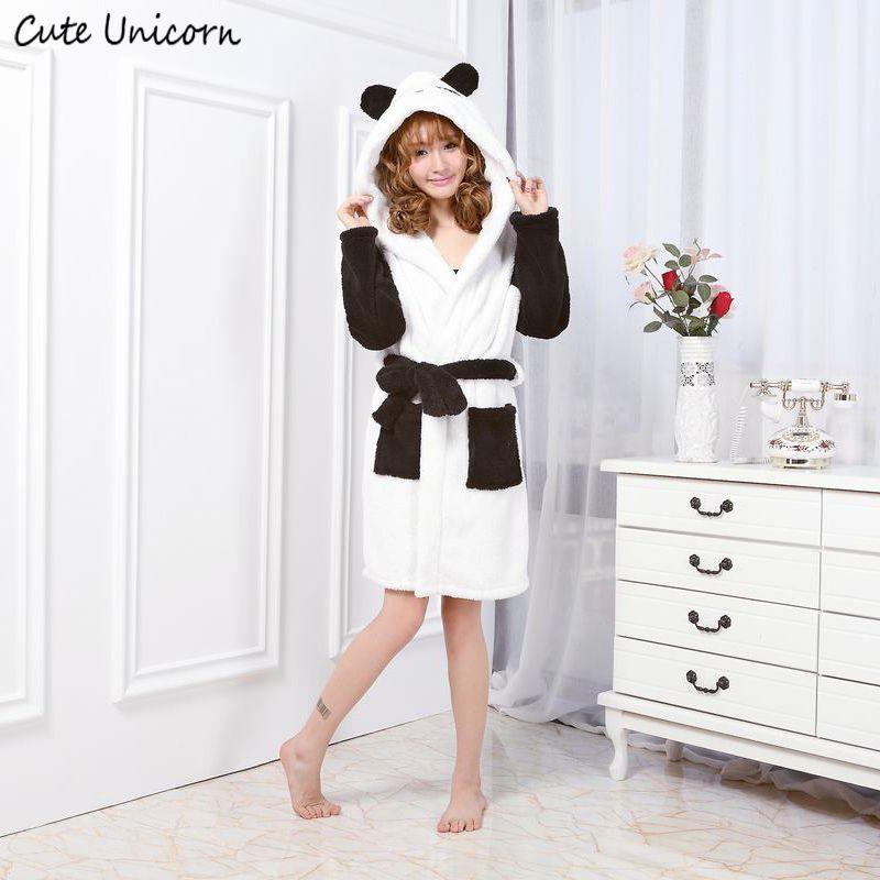 Unicornio lindo unisex Panda dibujos animados vestido Albornoces para las mujeres long sexy robe animal Sleep robe homewear Albornoz mujeres camisón