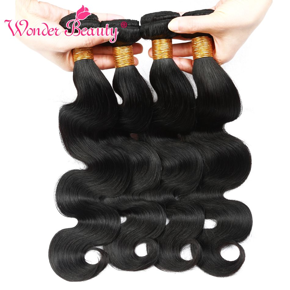 Wonder Beauty Human Hair Extensions Brazilian Body Wave 4 Bundles deal Mixed Length Hair Weave Natural Black Machine Double Weft