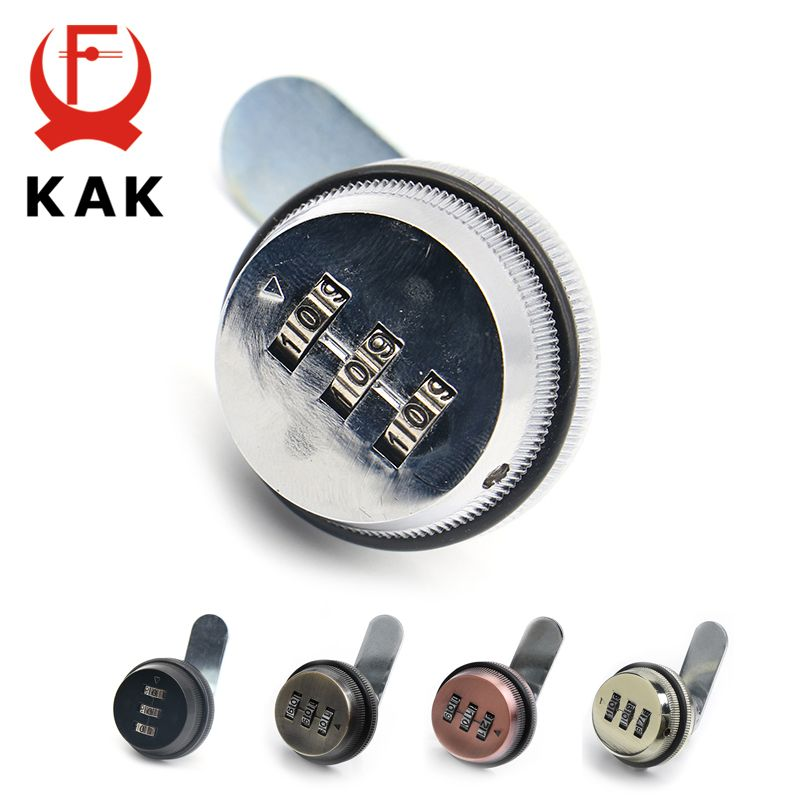 KAK combinaison armoire serrure noir/argent en alliage de Zinc mot de passe serrures sécurité domotique Cam Lock pour boîte aux lettres armoire porte