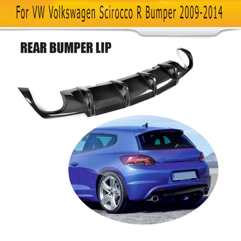 Carbon fiber car rear lip diffuser For Volkswagen VW Scirocco R R20 Bumper 2009-2014 Black FRP dual exhaust one outlet