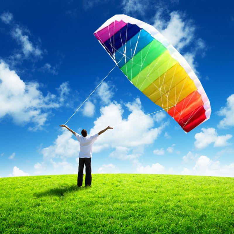Livraison gratuite double ligne parafoil cerf-volant outils ligne tresse électrique voile kitesurf arc-en-ciel jouets de plein air sports plage weifang