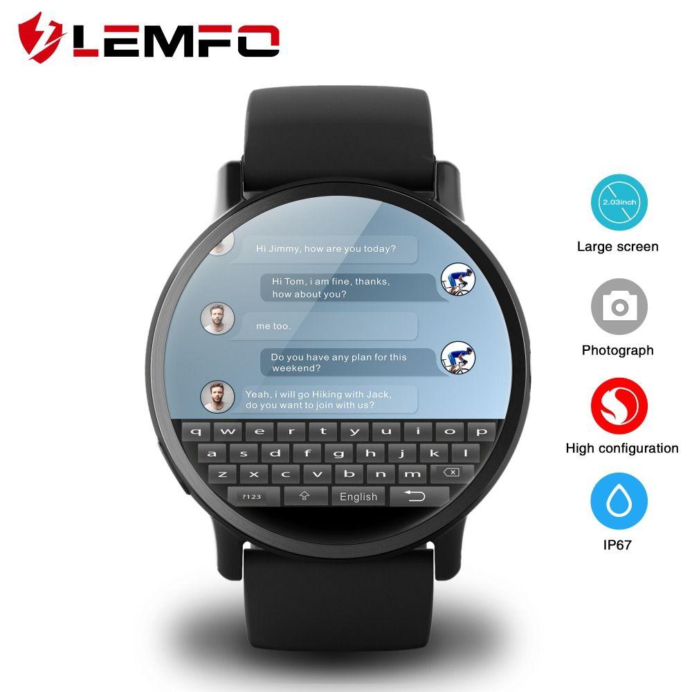 LEMFO LEM X 4G montre connectée android 7.1 Avec 8MP Caméra GPS 2.03 pouces Écran 900 batterie mah Sport Sangle D'affaires Pour hommes