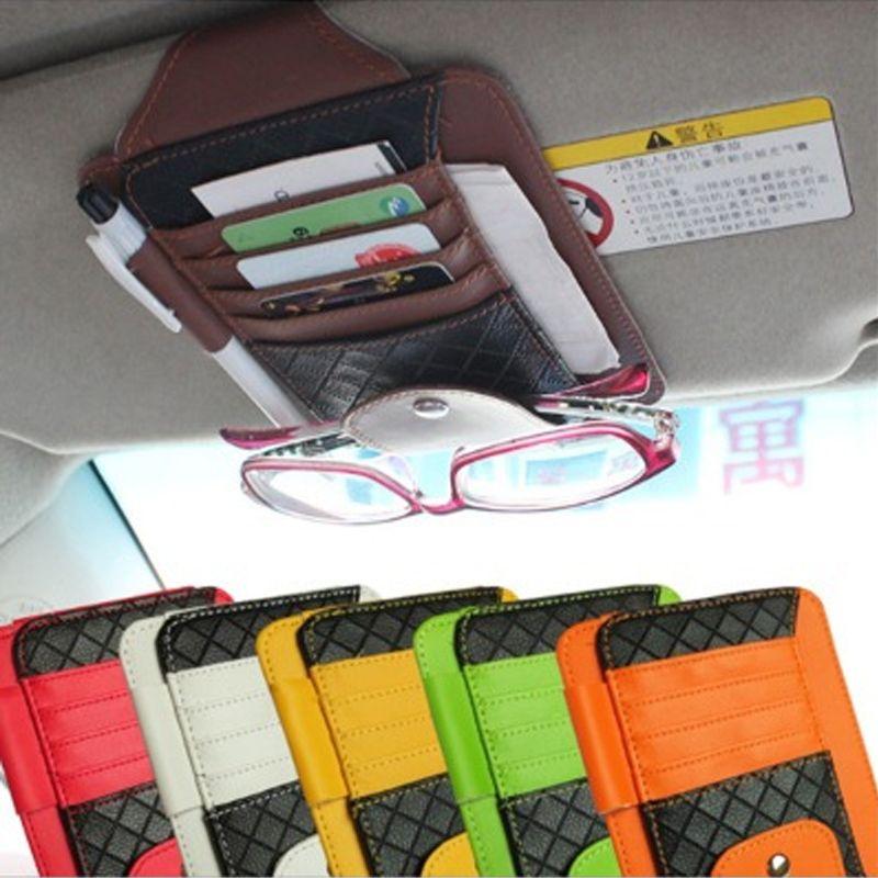 Automobile Accessories PU Pocket Multifunction Sun Visor Car Card Package Holder Glasses Storage Pen Organizer Car Hanging Bag