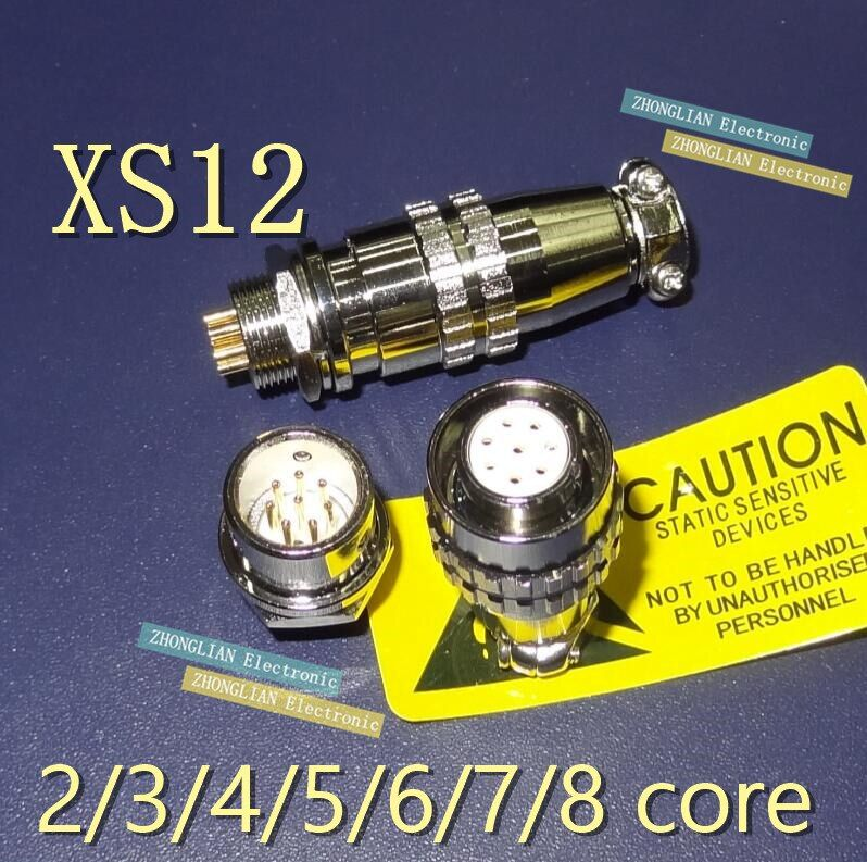 (1 male+1 female)=1pair/lot  Aviation plug and socket connector XS12 -2 -3 -4 -5 -6 -7 -8 core