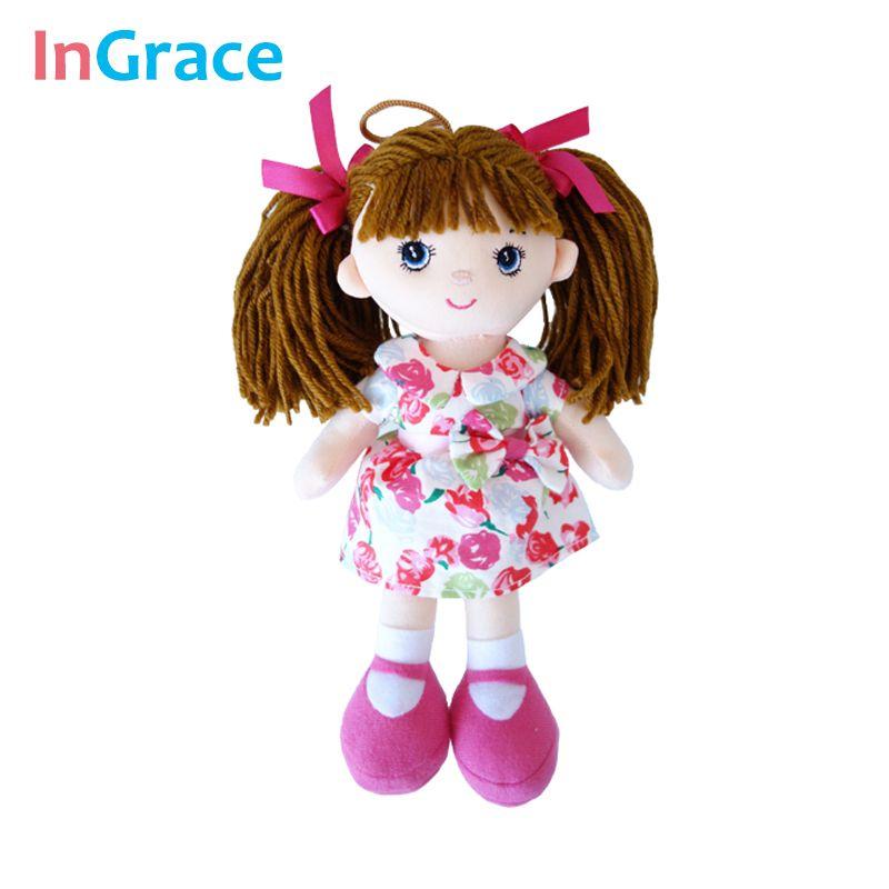 InGrace doux mode filles mini poupées en peluche et en peluche fleur robe filles jouets cadeaux d'anniversaire bébé fille première poupée mini 25 CM