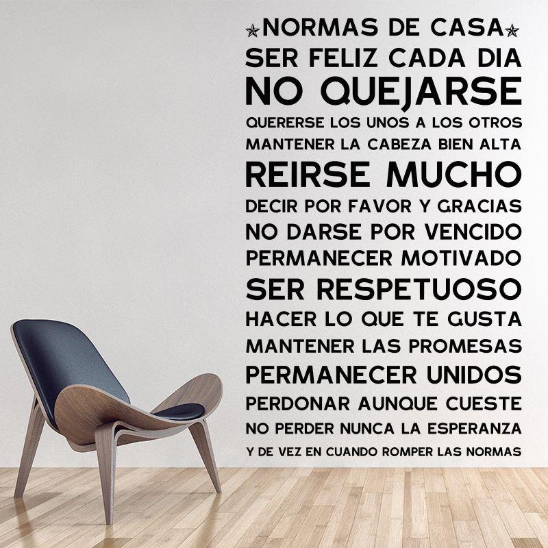 Version espagnole NORMAS DE CASA maison règles mur autocollant décor maison famille citation maison décoration vinyle stickers muraux chambre d'enfants