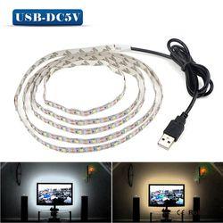 5 V 50 CM 1 M 2 M 3 M 4 M 5 M Kabel USB Power LED Strip Lampu lampu SMD 3528 Natal Dekorasi Meja Lampu Tape untuk TV Pencahayaan Latar Belakang