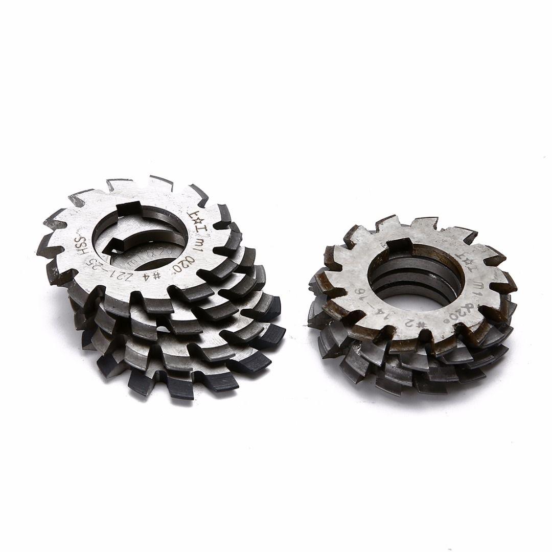 8pcs HSS Involute Gear Cutters Set Diameter 22mm M1 Module PA 20 Degree #1-8 Assortment Kit For Power Tools