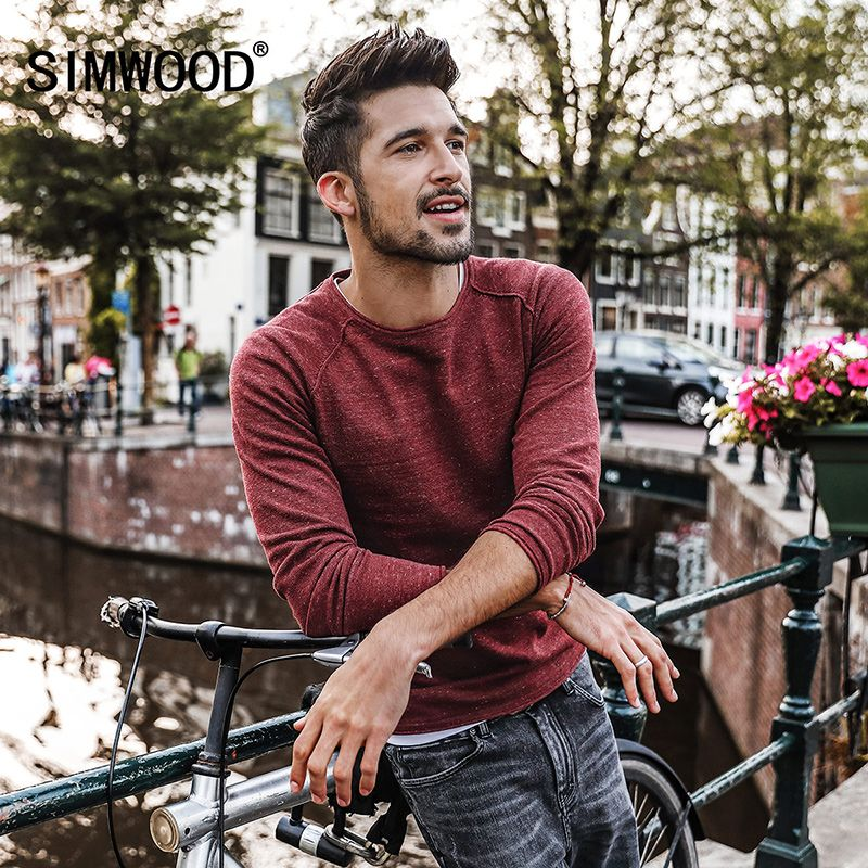 SIMWOOD Sweater Men 2018 Spring New pullover Slim Fit Thin Mens Knitted Sweaters Male Curl Hem High Quality Plus Size MT017003