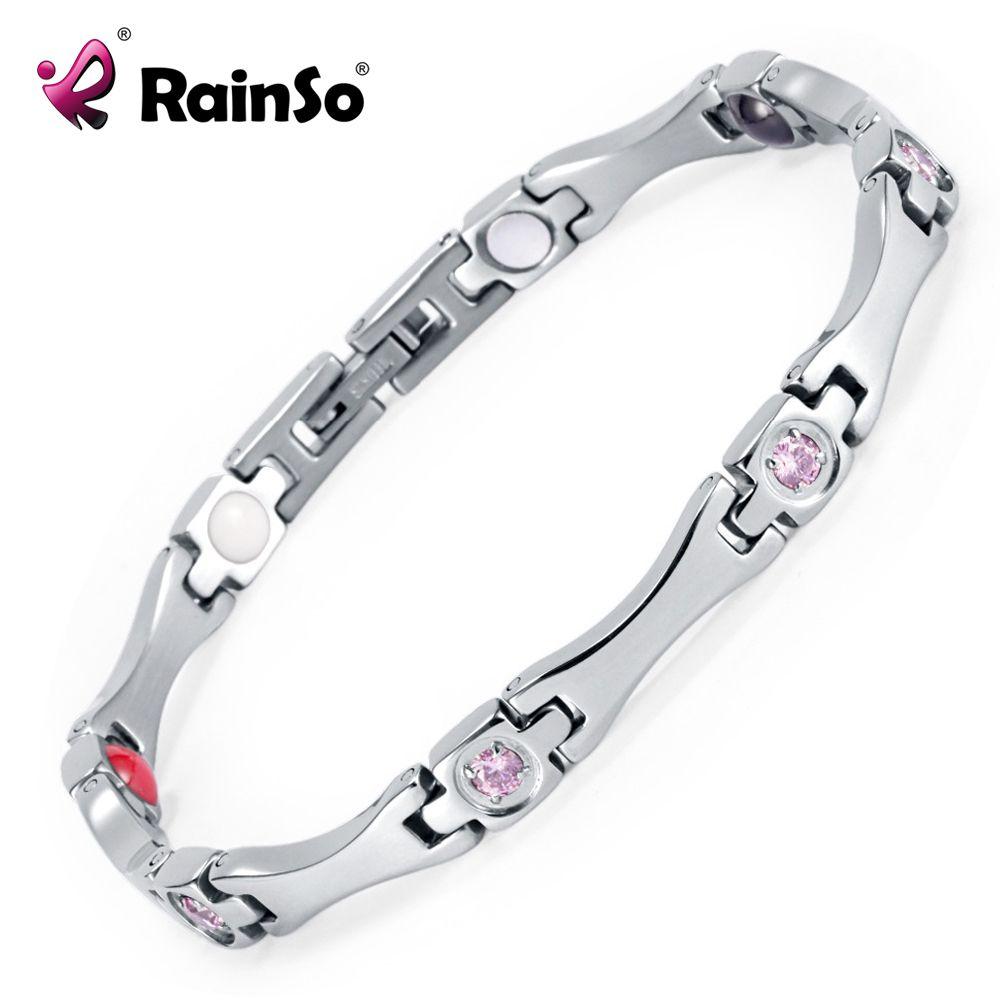 Rainso Élégant En Acier Inoxydable Énergie Santé Bracelet Magnétique avec Aimant Strass Amitié Bracelets pour Femme