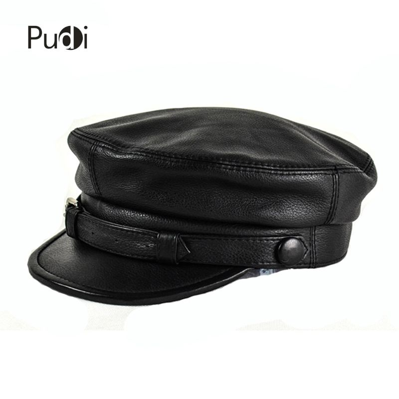 HL167-F genuine leather baseball cap hat men's brand new cow skin leather newsboy arny Fisherman aviator caps hats black color