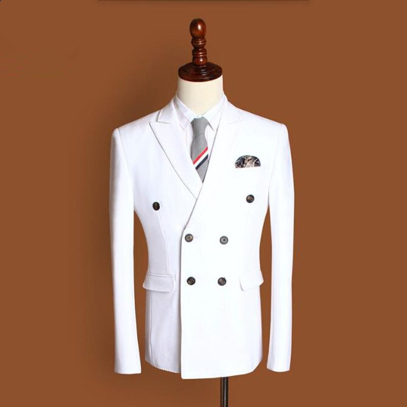 Latest design men suits jacket solid color groom wedding dress jacket double breasted formal business suits jacket