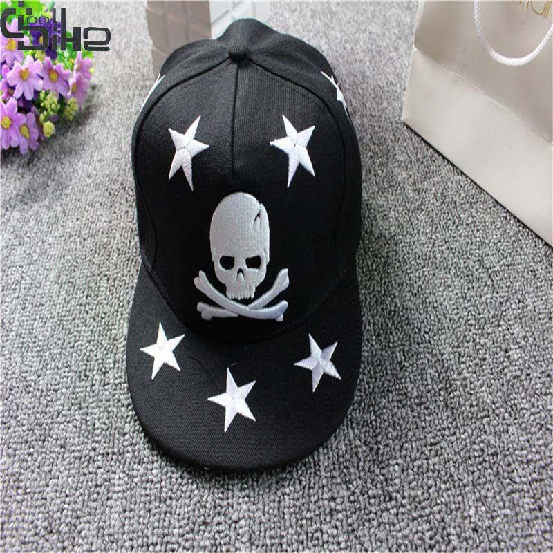 Новый Череп Вышивка Unisex SNAPBACK Бейсбол шляпа хип-хоп Кепки для Для мужчин Для женщин для отдыха Шапки модный прямой козырек регулируемые Кепк...