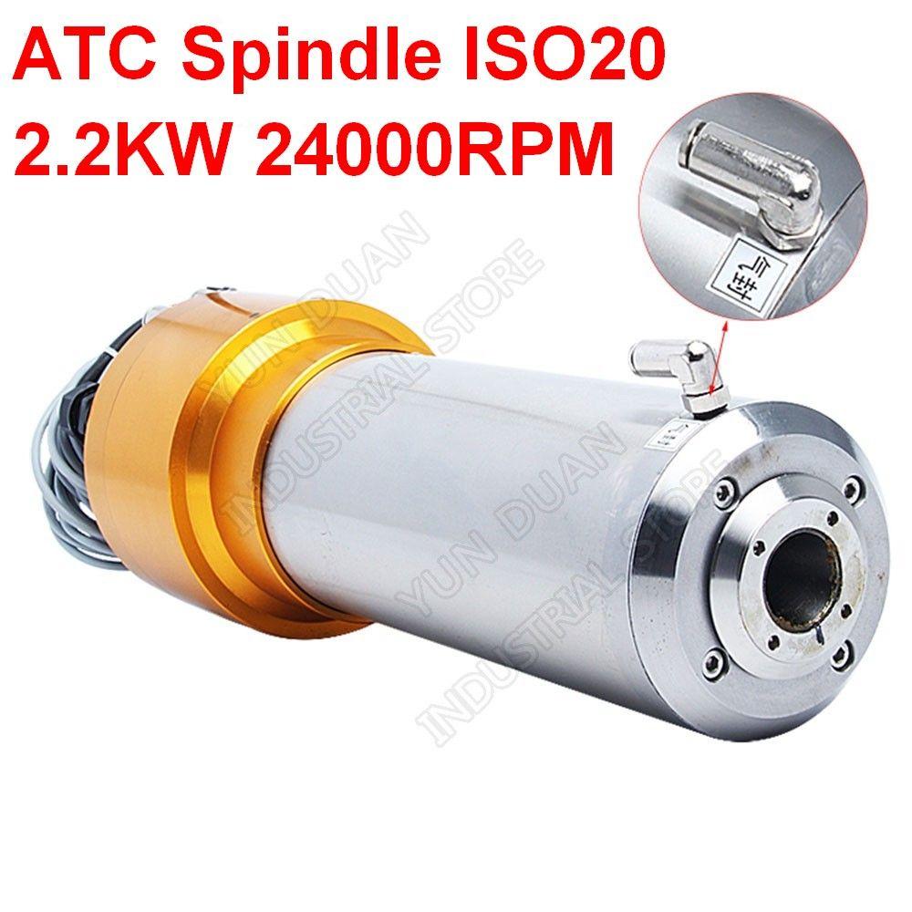 2.2KW ATC Spindel 3HP ISO20 24000RPM AC220V 800Hz 80MM Automatische Werkzeug Änderungen Spindel Motor NPN PNP für CNC Router Gravur