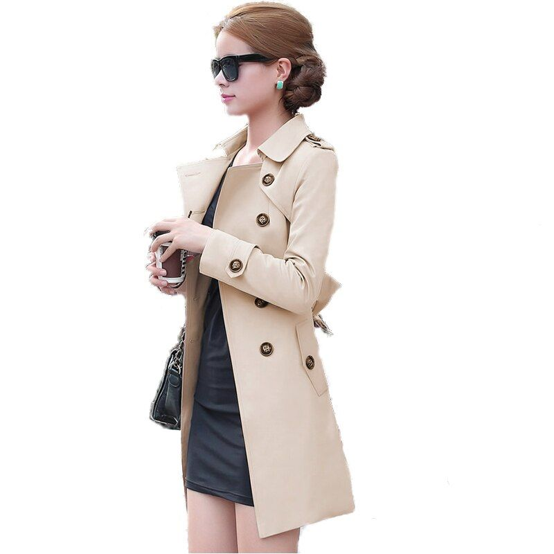 Осень 2017 г. британский стиль Для женщин Тренч мода Slim Solid двубортный Галстуки средней длины ветер-выключатель женский пыли Пальто для будущи...