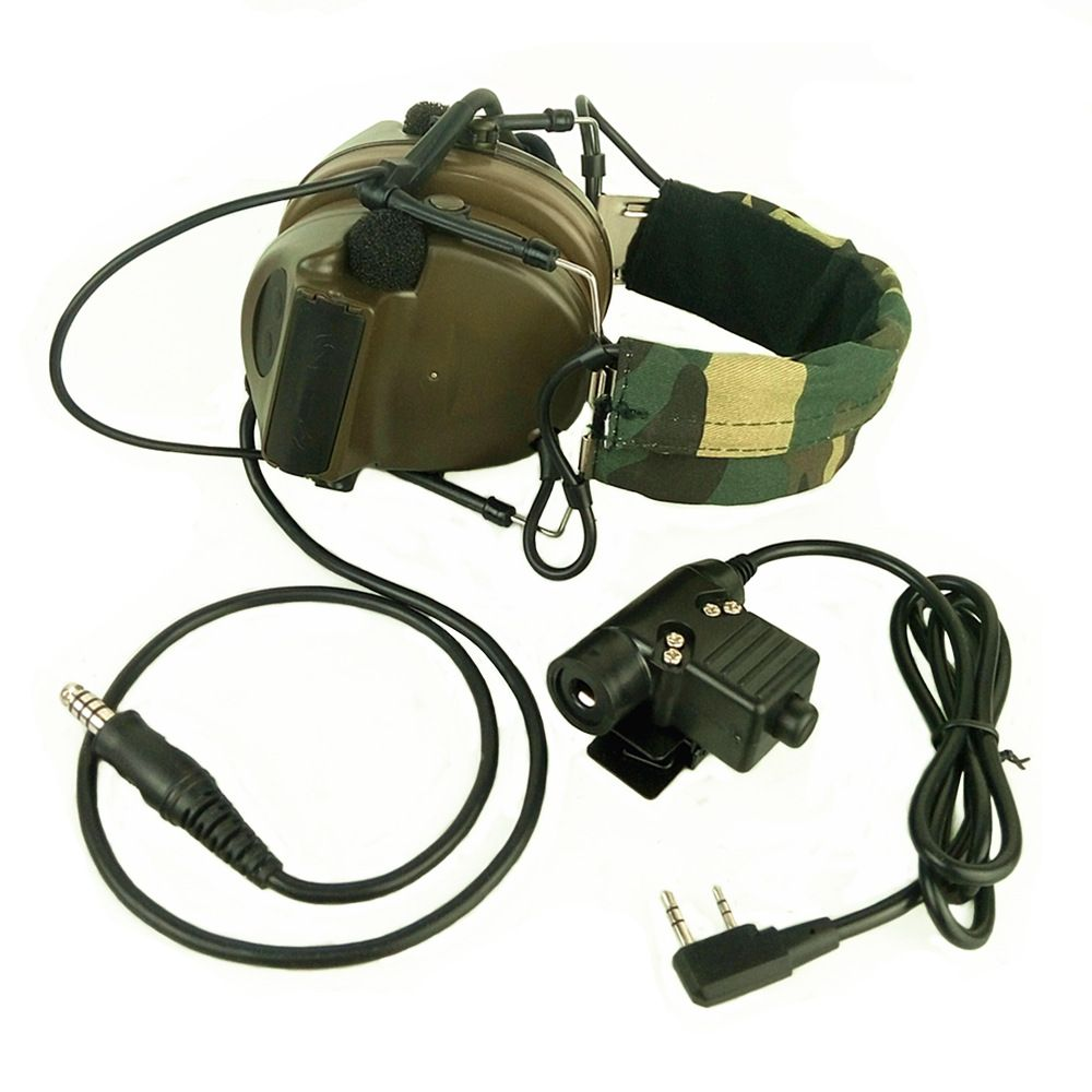 Z Tactical Headset Headphone With U94 PTT Kenwood 2 Way Pin Comtac II Noise Reduction Headset Walkie Talkie Dual PTT Olive Drab
