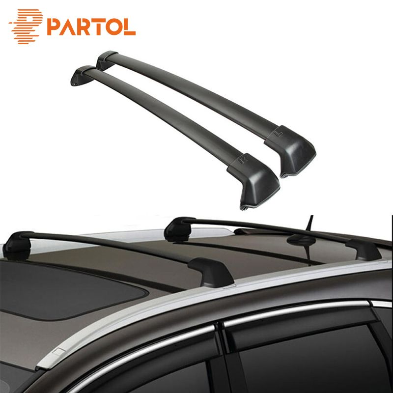 Partol 1 Pair Black Side Rails Car Roof Rack Cross Bars Crossbars for Honda CRV 2012-2016 132 LBS 60KG Mounted On Car Rooftop