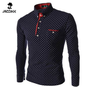 2018 New Brands Mens Dot Long Sleeve POLO Shirts Brands  Long Sleeve Camisas Polo Stand Collar Male Polo Shirt Size 3XL. KJHBA