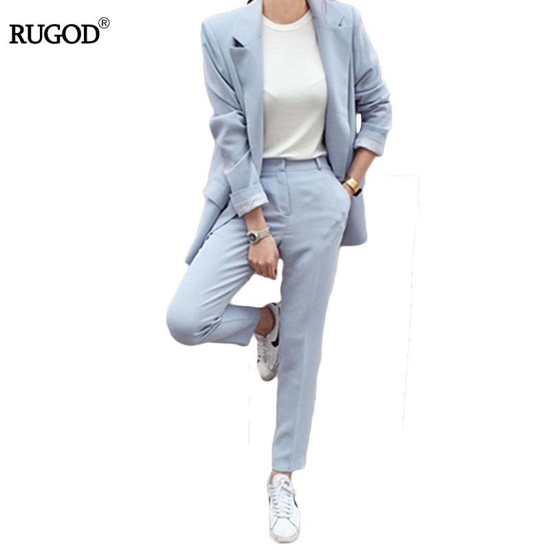 Rugod 2018 Spring Office Lady Elegant Business Suits Women Stylish Two piece sets Long Sleeve Jacket and Trouser Hot Sale Suits