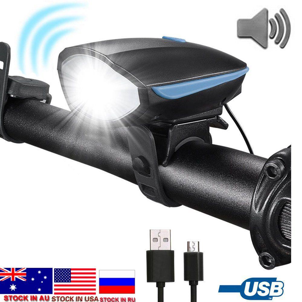 Livraison directe vélo lumière lampe de poche LED avec cloche + corne Luces Bicicleta lampe vtt route vélo phare vélo accessoires