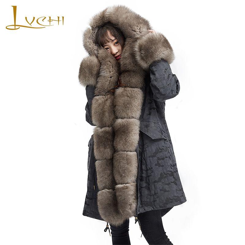 LVCHI Winter 2018 Woman PARKA Fur Coat Long Sleeve Parker Coat With Fox Fur Collar Rex Rabbit Fur Medium PARKA Warm Fur Coats