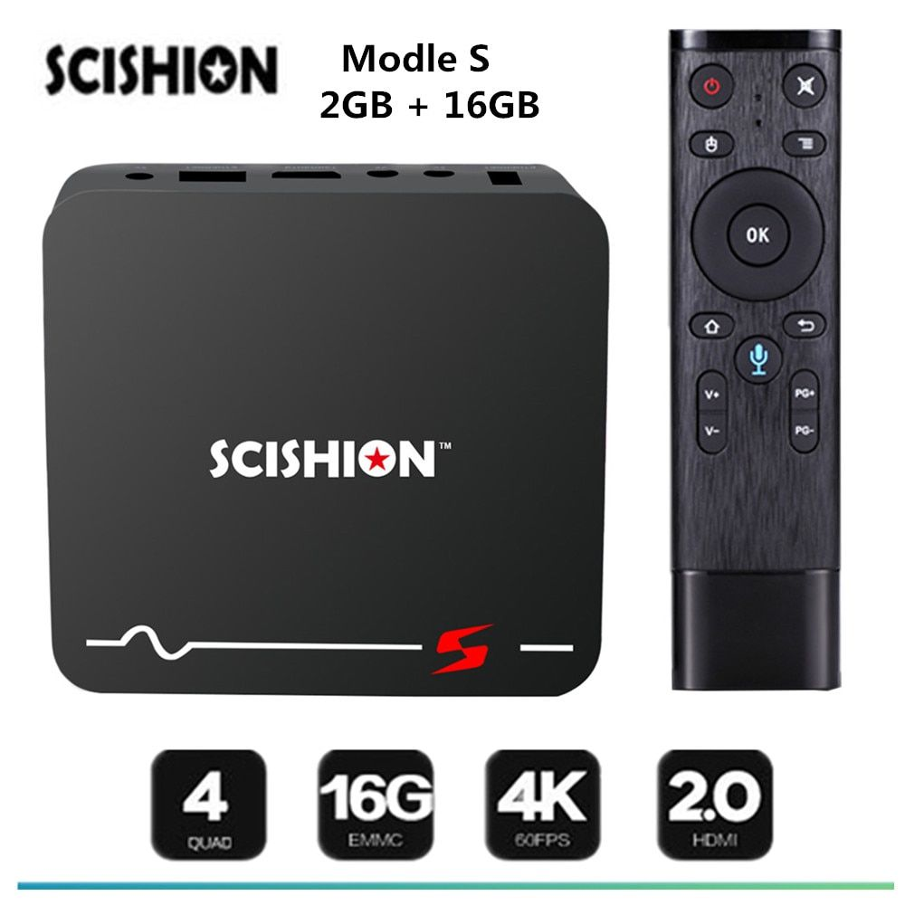 SCISHION Model S TV Box Android 8.1 Voice Remote RK3229 2GB 16GB Smart TV Box 2.4G WiFi 100Mbps Support 4K H.265 Media Player