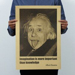Albert Einstein Imagination Vintage Classic Poster Home School Office Decoration  Art Magazines  Retro Posters and Prints