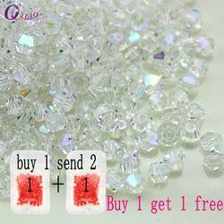 Kaufen 1 und erhalten 1 freies insgesamt 200 stücke Bunte 4mm Doppelkegel Kristall Perlen Glas Perlen Lose Spacer Perlen armband Schmuck, Die DIY