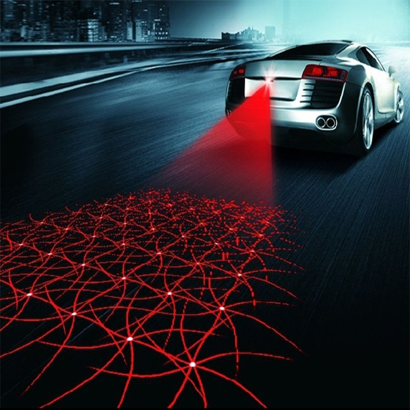 Universal LED Car Motorcycle Laser Fog Light Anti Collision Tail Lamp Auto Moto Braking Parking Signal Warning Lamps Car styling