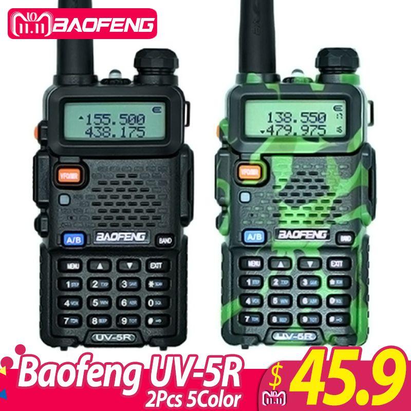 2Pcs Baofeng UV-5R Walkie Talkie UV5R CB Radio <font><b>Station</b></font> 5W 128CH VHF UHF Dual Band UV 5R Two Way Radio for Hunting Ham Radios