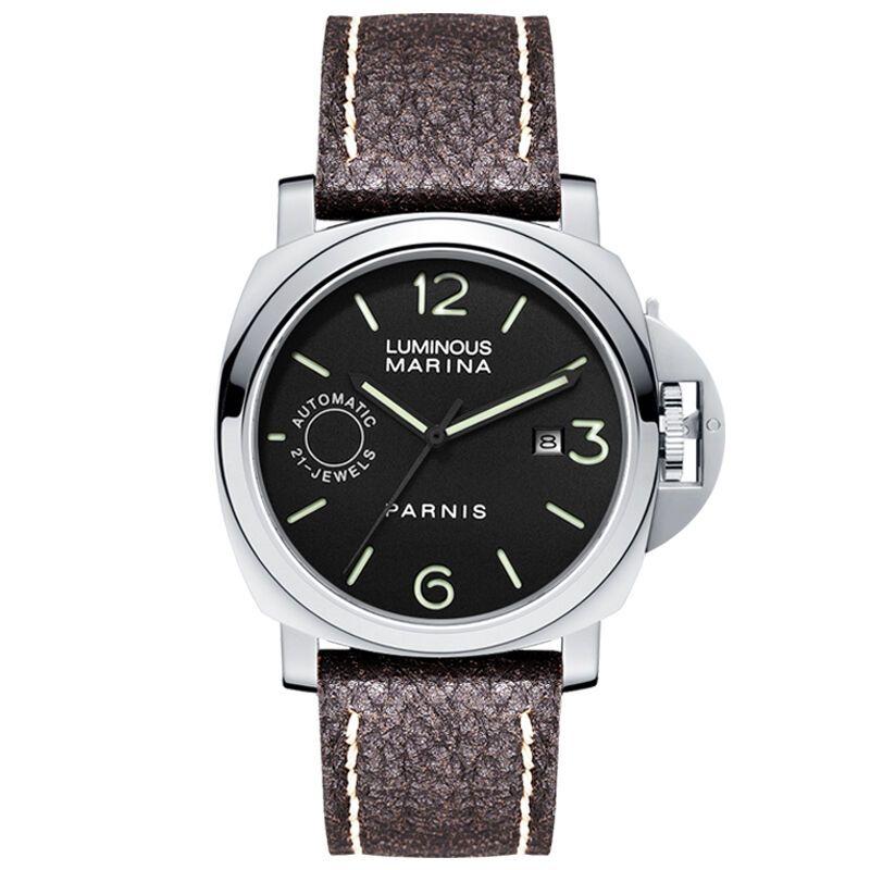 Parnis Commander IIV Seriers Luminous Mens Leather Watchband Automatic Self-Wind Mechanical Watch Wristwatch