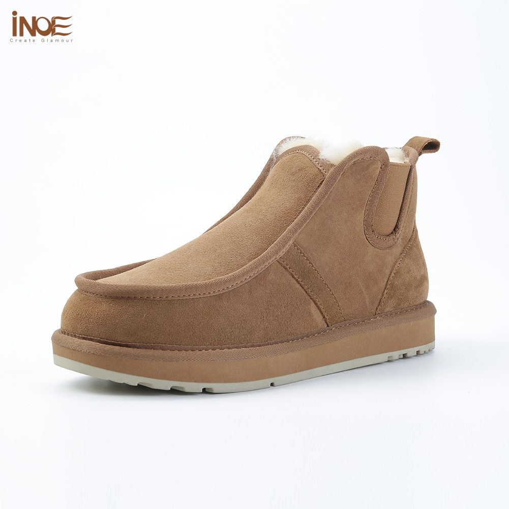 INOE Beckham same fashion style real sheepskin leather suede winter snow boots for men natural wool fur lined lazy winter shoes