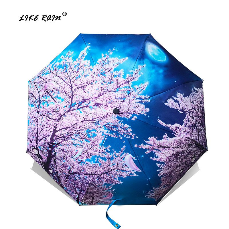 LIKE RAIN Chinese Art Sakura Umbrellas Female Van Gogh Painting Folding Umbrella Rain Women <font><b>Windproof</b></font> Anti-UV Sun Parasol YHS03