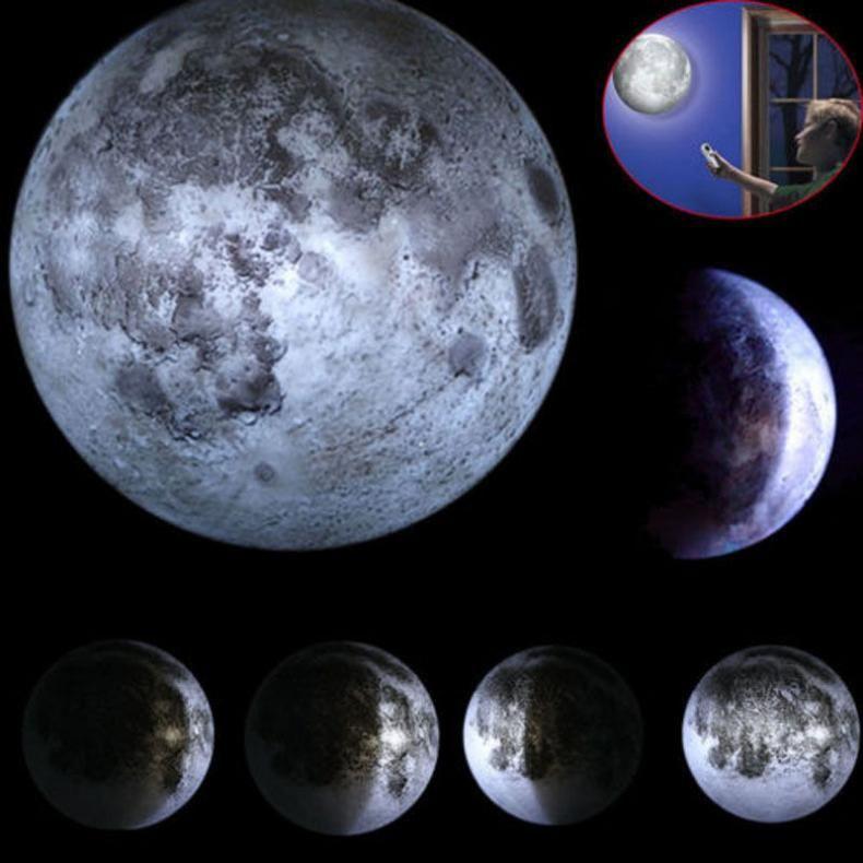 ABS 6 sortes Phase de la lune mur LED lampe lune lumière avec télécommande relaxant guérison lune nuit de noël lumière pour les enfants