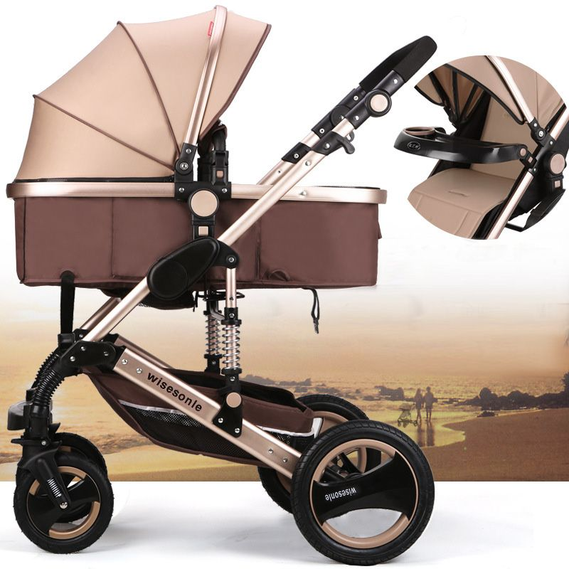 EMS Baby Furniture Bassinets Baby Stroller 2 In 1 Stroller Lying Or Dampening Folding Light Weight Two-Sided Child Four Wheels