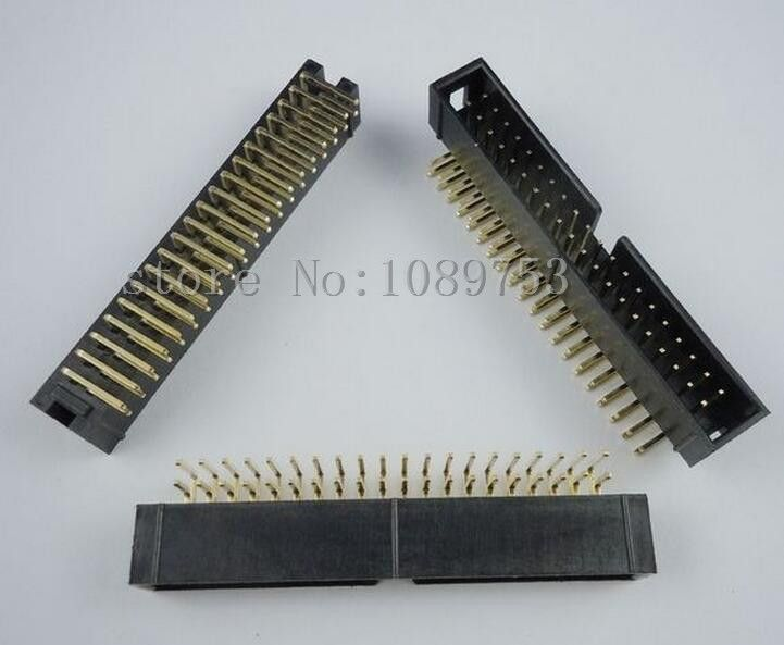 50pcs 2.54mm 2x20 40 Pin Right Angle Male Shrouded PCB Box header IDC Connector